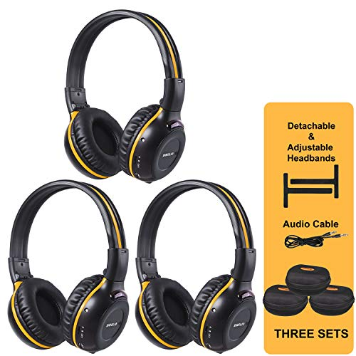 SIMOLIO 3 Pack of Wireless Car Headphones with Carrying Cases, IR Wireless Headphones for Kids, Car DVD Headphones with AUX Cord, Share Port, 2 Channel IR Headsets, Not Work on 2017+ GM's or Pacifica