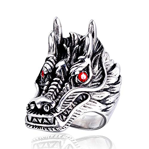 TnSok Personalized Stainless Steel Men's Titanium Steel Punk Retro Dragon Ring Metal Punk Rock Ring Handsome Ring (Color : Silver, Size : 13)