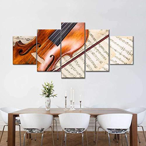 45Tdfc So Crazy Art -Cuadros en Lienzo Puntuación de la canción del violín del Instrumento Musical Decoracion de Pared 5 Piezas Modernos Mural Fotos para Salon,Dormitorio,Baño,Comedor