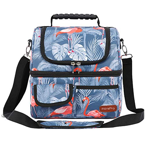 Insulated Lunch Bags for Women Men, Upgraded Dual Compartment Lunch Box Leak-proof Large Cooler Tote Lunch Bag with Removable Shoulder Strap Portable Lunch Container Work School Picnic Beach Hiking
