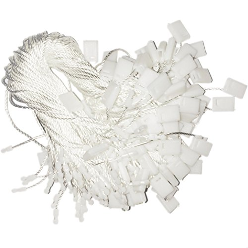 Hang Tag Fasteners - White Nylon String with Plastic Lock - 1000 Pieces - Hang Tag String - Price Tag Fasteners - Snap Lock Tag Fastener