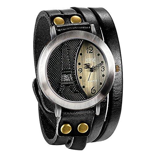 JewelryWe Herren Damen Armbanduhr, Schwarz Leder Armband Wickelarmband, Retro Eiffelturm Design mit Strass, Analog Quarz Uhr, einfaches Digital Zifferblatt