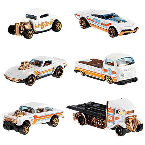 Hot Wheels 2020 Pearl and Chrome Exclusive Muscle Speeder, \'32 Ford, Fast-Bed Hauler, \'55 Chevy Bel Air Gasser, \'68 Corvette Gas Monkey Garage, Volkswagen T2 Pickup - Complete Set of 6!