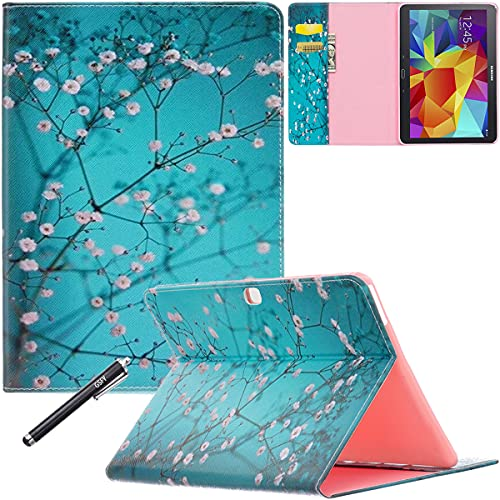 Galaxy Tab 4 10.1 Case - Newshine Stand Folio Case Cover for Samsung Galaxy Tab 4 10.1 Inch Tablet SM-T530NU, with Multiple Viewing Angles, Document Card Pocket (Almond Flowers)
