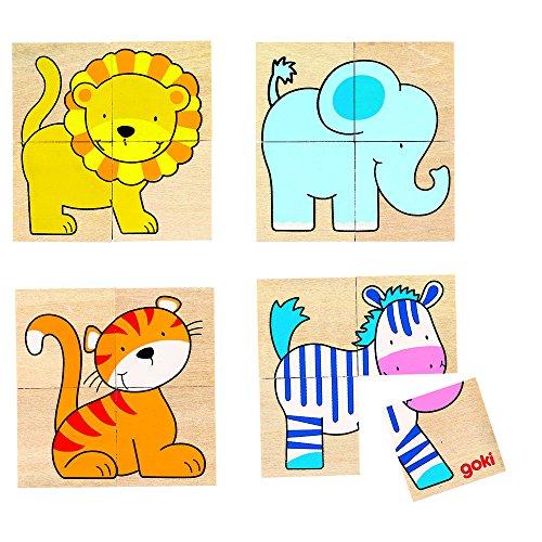 Goki - Puzzle y memo Karemo con Animales Salvajes, 20 Piezas (Gollnest & Kiesel 56714.0)