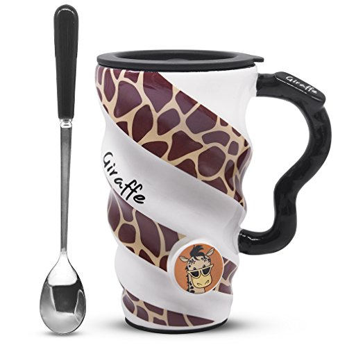 Angelice Home Giraffe Coffee Mug, Ceramic Funny Large Capacity Cup Mug with Lid and Spoon for Men and Women