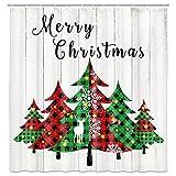 Weihnachtsbaum-Duschvorhang, Frohe Weihnachten Buffalo Karo Bäume & Holzbrett Hintergr& Urlaub Bauernhaus Badezimmer Dekor Wasserdicht Stoff Duschvorhang Set mit 12 Haken