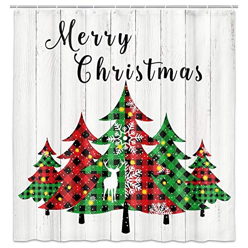 Christmas Tree Shower Curtain, Merry Christmas Buffalo Check Plaid Trees and Wooden Board Background Holiday Farmhouse Bathroom Decor Waterproof Fabric Shower Curtain Set with 12 pcs Hooks