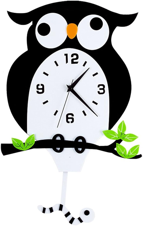 Pinjeer Nordic Art Owl Creative Swing Clock Modern Minimalist Personality Living Room Kitchen Bedroom Office Home Decoration Silent Wall Clock (Size   25  40cm)
