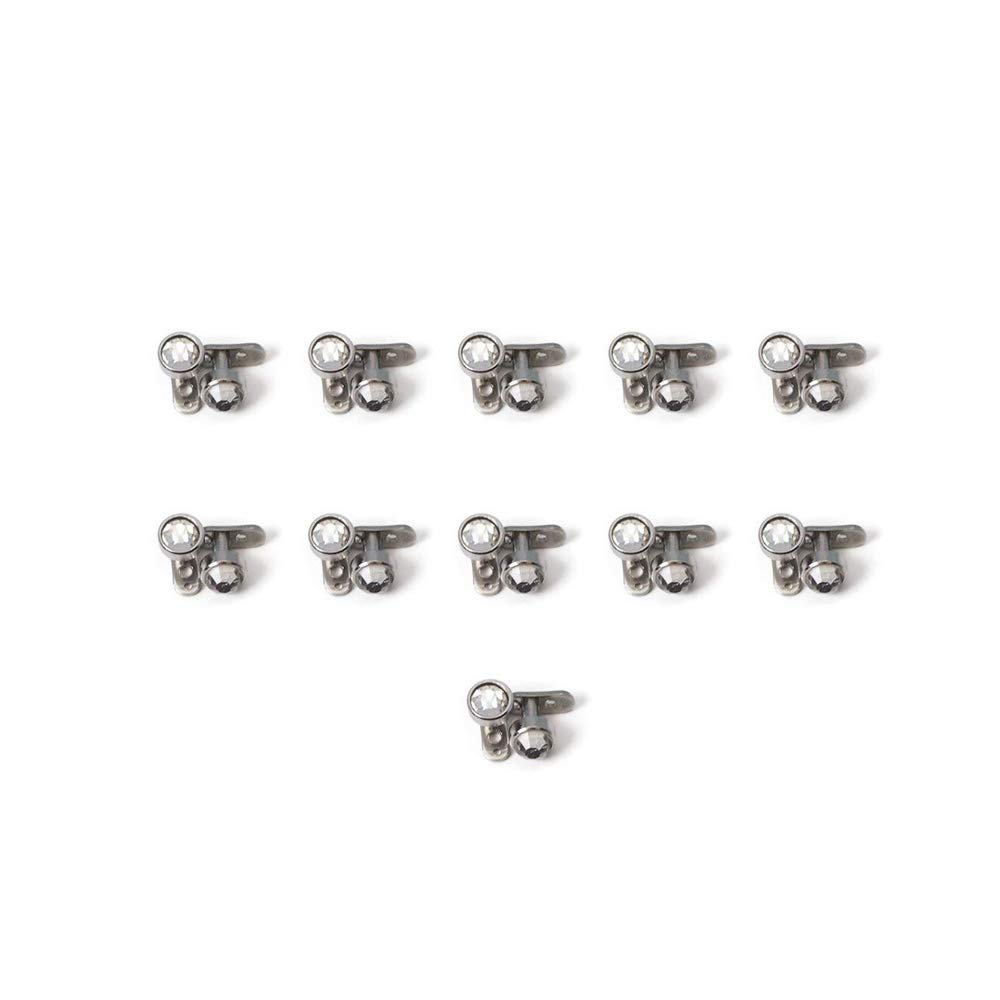 BodyJewelryOnline Dermal Piercing Jewelry 316L Surgical Steel Clear Press-Fit Gem - 22 Tops and 22 Bottoms - 44 Piece Total