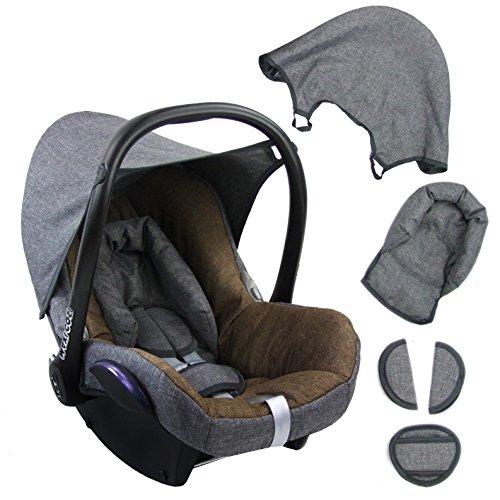 BAMBINIWELT Ersatzbezug für Maxi-Cosi CabrioFix 6-tlg. GRAU/BRAUN, Bezug für Babyschale, Komplett-Set XX