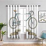 Cortina de aislamiento térmico retro Ride Your Bike Theme Hipster hecha a mano para bicicleta y cinta impresa, tela impermeable, color marrón arena y azul gasolina, 63 x 72 pulgadas