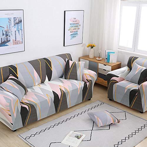 Funda Sofa 4 Plazas Chaise Longue Rosa Gris Fundas para Sofa con Diseño Elegante Universal,Cubre Sofa Ajustables,Fundas Sofa Elasticas,Funda de Sofa Chaise Longue,Protector Cubierta para Sofá
