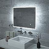 KAASUN 32' x 24' Inch LED Bathroom Wall-Mounted Backlit Vanity Mirror High Lumen Anti-Fog Waterproof Horizontal Installation with Touch Switch