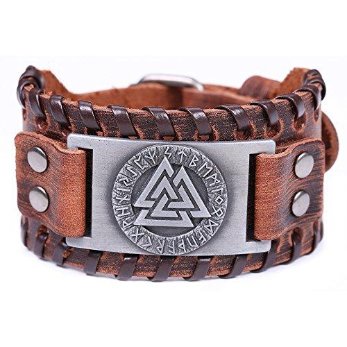 Vintage Amulett Nordic Runes Odins Symbol der Krieger Valknut Charm Brown Belt Buckle Armband für Herren (braunes Leder, antikes Silber)