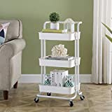 Three-Layers Household Storage Trolley, Rolling Storage Cart with 360 Degrees Flexible Wheels, 3-Tier Trolley with Handle, Multifunctional & Removable Storage Rack, Suitable for Home & Office, White