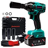 Kinswood Rechargeable Cordless Impact Wrench kit 21V with Drill Set Heavy Duty Led Light Free Case & work Glove (1...