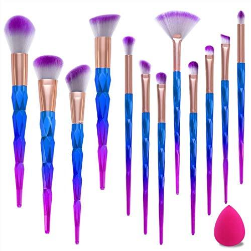 Make Up Pinsel Set 12pcs Pinsel Schminkpinsel Kosmetikpinsel Lidschatten Gesichtspinsel Foundation Eyeliner Pinsel mit Make-up Schwamm
