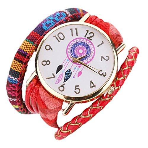 Ouneed® Uhren , Die schlanke stilvolle und schicke Knit Armband Traumfänger Uhr Damen dekorative (Rot)
