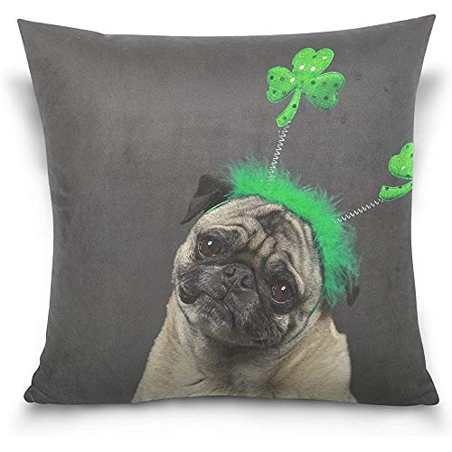 Cute Pug Dog St. Patrick's Day Square Throw Pillow Case Cotton Velvet Cushion Cover