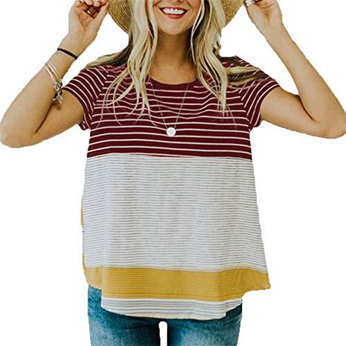 Generice - Camiseta de manga corta para mujer, cuello redondo, manga corta, con costuras a rayas, color en contraste Rojo rosso L