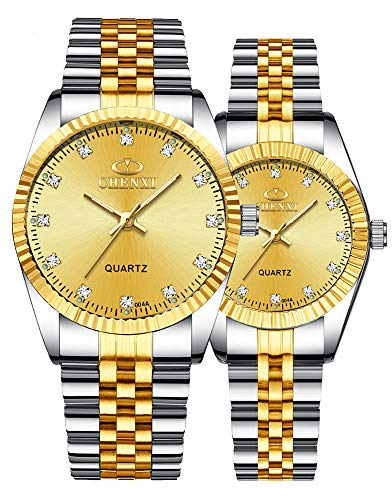 Swiss Brand Two Tone Watch Men Women Gold Silver Stainless Steel Waterproof Couple Watches (Gold)