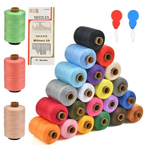 QLOUNI Set de 24pcs Hilos de Coser de Poliéster Multicolores Ideal para Tejido de Punto, Costura, Ganchillo, Punto de Cruz, Bolsita de Té,etc