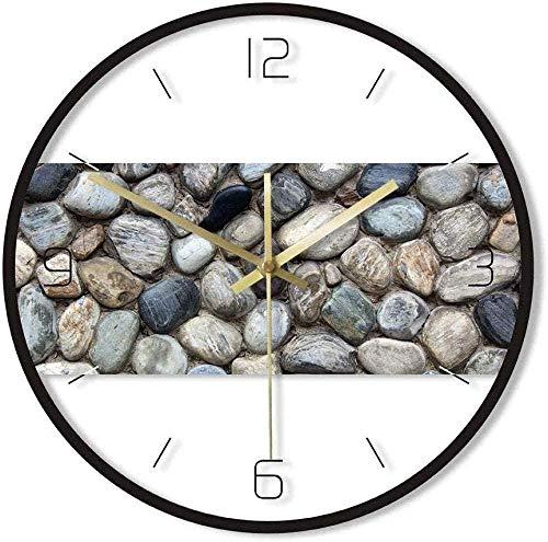 Reloj De Pared Gray River Rocks Impresión De Piedra Arte De La Pared Reloj De Pared Redondo Coastal Beach Hogar Movimiento De Barrido Silencioso Reloj De Pared De Guijarros Silencioso Fácil De Leer