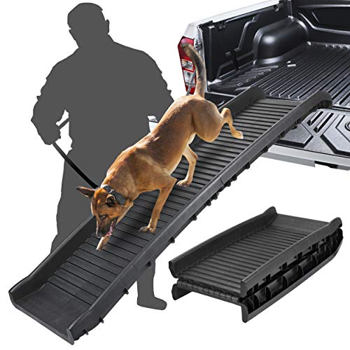 BBBuy 62 Inches Foldable Pet Ramp Dog and Cat Safety Bi-fold Ramp Ladder Portable Travel for Cars, Trucks, SUVs, Doorstep or Bed