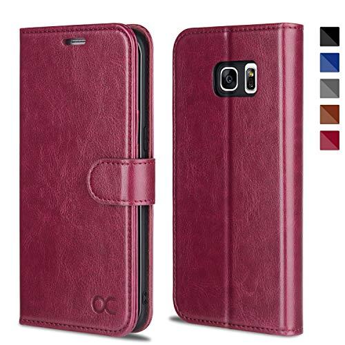 OCASE Samsung Galaxy S7 Edge Hülle Handyhülle [Magnetverschluss][ Premium Leder ][ Standfunktion ][ Kartenfach ] Brieftasche Klappetui Schutzhülle kompatibel für Samsung Galaxy S7 Edge Cover Burgundy
