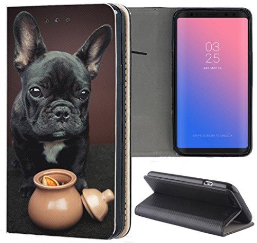 Samsung Galaxy S7 G930F Hülle Premium Smart Einseitig Flipcover Hülle Galaxy S7 Flip Case Handyhülle Samsung Galaxy S7 Motiv (1451 Französische Bulldogge Hund Schwarz Welpe)
