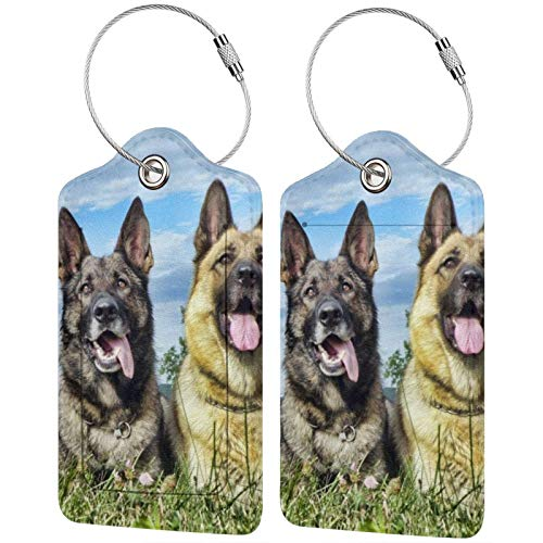 Cute Pet German Shepherd Dog Luggage Tag Privacy Cover Id Label With Stainless Steel Loop And Address Card Tags For Travel Bag Suitcase