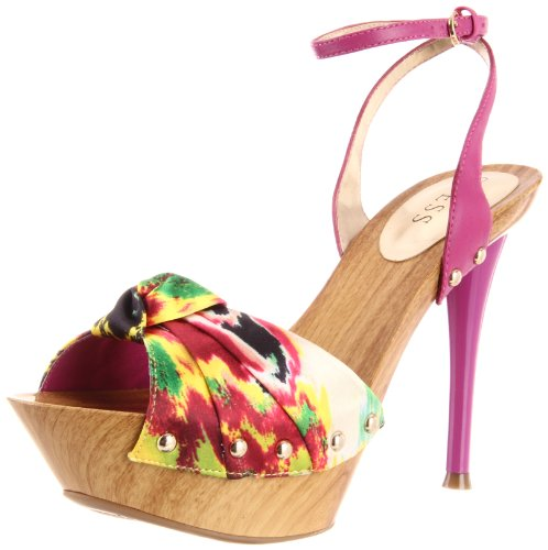 Guess Yamini High Heels- Yellow Multi Satin/Größe 41