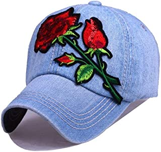 YOKST Baseball Cap Rose Embroidery Breathable Quick Drying Sports Cap Size Adjustable Sunhat Polo Style Classic Trucker Hat for Men Woman (Color : Light blue)