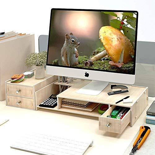 HJRD Monitorständer, Universelle Holz-monitorständer Stifthalter mit schublade, Hals-Schutz Schreibtisch Organisation Monitor, 2 Stufen überwachen Stand Für Computer Laptop Schreibtisch-A