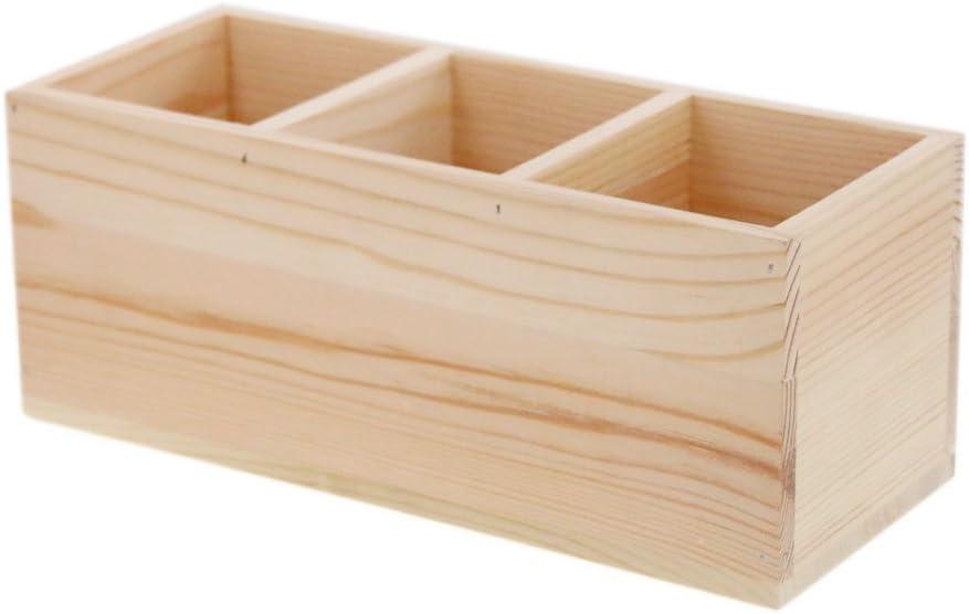 Caja de control remoto de madera porta Caddy, contenedor organizador de escritorio para escritorio, mandos a distancia, suministros de oficina, lápices de plumas (2 compartimentos): Amazon.es: Oficina y papelería