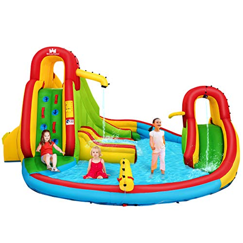 COSTWAY Inflatable Bouncy Castle, Jumper House Water Pool Slide Activity Center with Water Slide, Climbing Wall, Water Gun and Pool Area for Kids (Green Slide)