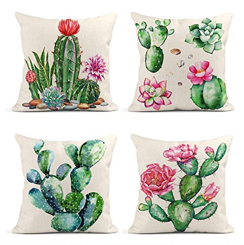 ArtSocket Set of 4 Throw Pillow Covers Watercolor Cactus Garden Raster for Clipping Path Collection Succulents Plants Decor Linen Pillow Cases Home Decorative Square 18x18 Inches Pillowcases