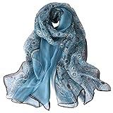 STORY OF SHANGHAI Sciarpa di 100% Seta da Donna Foulard Chiffon con Fantasie Orientale Semi-Trasparente, Fiori Bianchi su Blu(175 * 65cm)