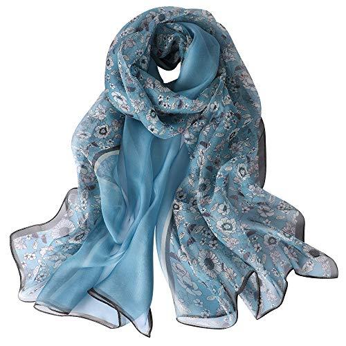 Donna Sciarpa di Seta di Lusso di Colore Solido Impacca di Scialle di, 100% Seta (XF05)