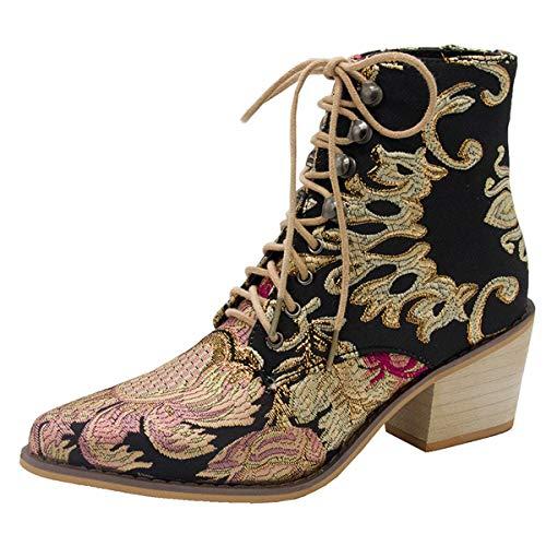 CrazycatZ Damen Vintage Satin Bestickte Blockabsatz Stiefeletten Schnüren Stiefel (43 EU, Black)