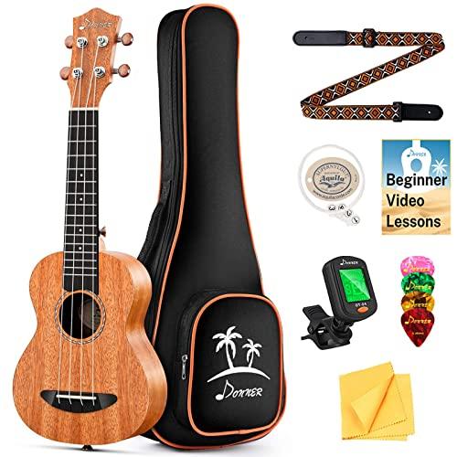 Donner Soprano Ukulele Beginner Kit Mahogany Professional 21 inch Ukelele Online Lesson Gig Bag Strap Nylon String Tuner Picks Cloth DUS-1...