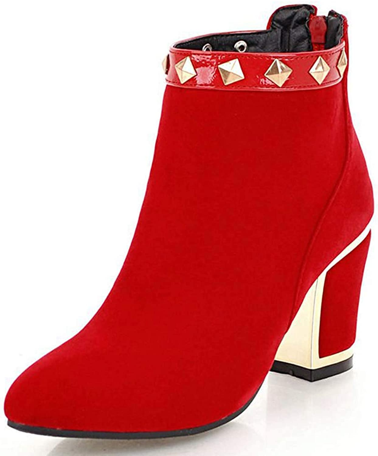 Ghssheh Women's Pointed Toe Ankle Booties - Studded Rivets Chunky High Heels- Back Zipper Short Boots Red 4.5 M US