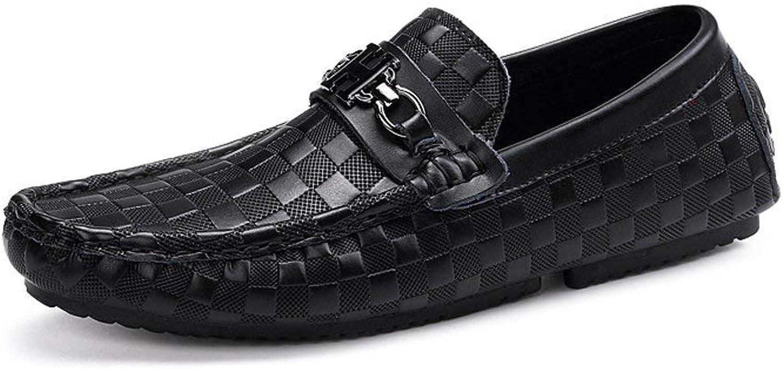 Oudan Herren Mokassins Schuhe, Herren Leichte Driving Penny Loafers Druck Leder gefütterte Vamp Slip-on Mokassins (Farbe   Square, Gre   42 EU)