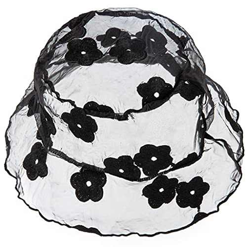 MYhose Sombrero de Cubo de Encaje de Malla Transparente para bebé, Gorra de Pescador con Bordado Floral Dulce, Gorra de Pescador 7