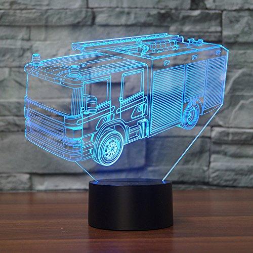 3D Illusion Nuit Lumière Led Veilleuse Lampe,Camion De Pompier Optiques Illusions Lampe 7 Couleur Tactile Lampe Art Décor Pour Chambre Chevet Table Enfants Cadeau Noël Fête Anniversaire