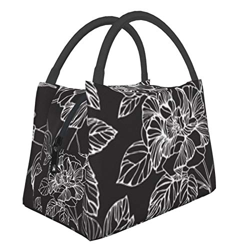 Bolsa de almuerzo portátil con aislamiento Cool (Flor de estampado floral (98)) 8.5L