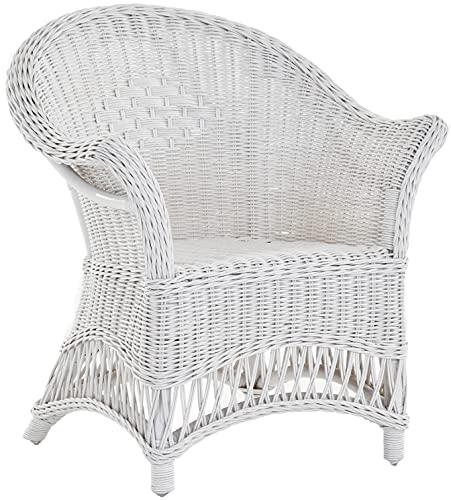 Kindersessel, Kinderstuhl mit Armlehnen aus echtem Rattan Sessel Kinderzimmer (Weiss)