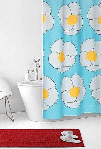 wohnideenshop Duschvorhang Joko blau türkis mit weißen Blumen Textil 180cm breit x 200cm lang inkl. Ringe