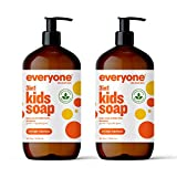 Everyone 3-in-1 Kids Soap, Body Wash, Bubble Bath, Shampoo, 32 Ounce (Pack of 2), Orange Squeeze, Coconut Cleanser with Organic Plant Extracts and Pure Essential Oils (Packaging May Vary)